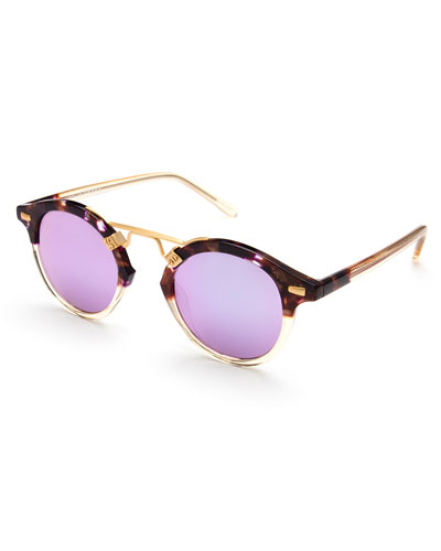 St. Louis Round Mirrored Sunglasses, Tortoise/Purple/Champagne