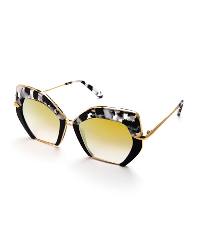 Octavia Geometric Two-Tone Sunglasses, Black