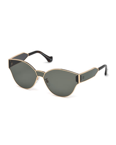 Monochromatic Shield Cat-Eye Sunglasses, Rose Gold/Green