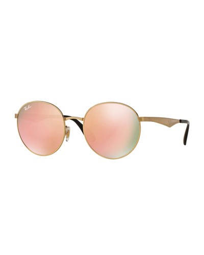 Round Mirrored Sunglasses, Golden/Pink
