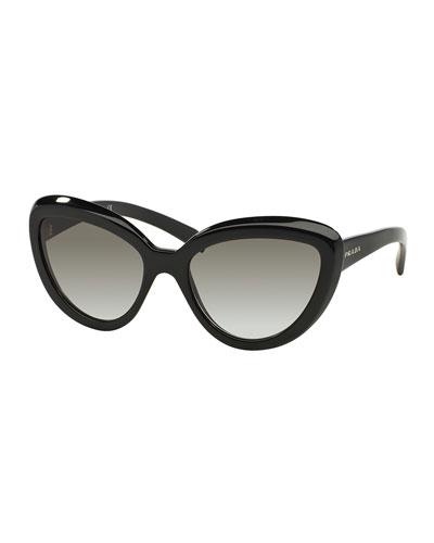 Thick-Rim Cat-Eye Sunglasses, Black