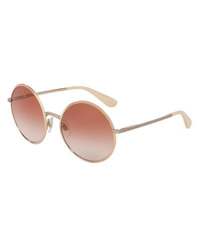 Gradient Round Sunglasses, Pink/Gold