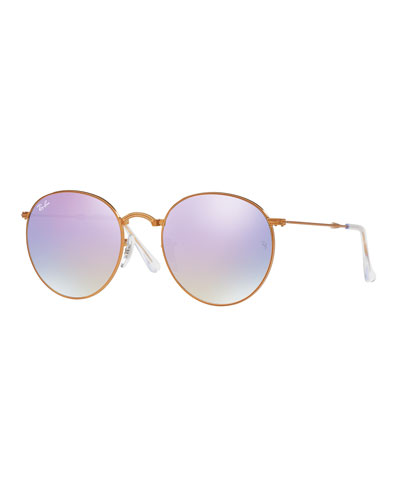 Iridescent Round Flash Sunglasses