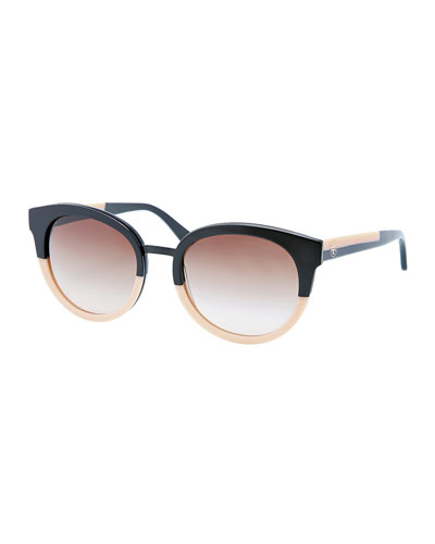 Eclectic Two-Tone Sunglasses, Black/Cream