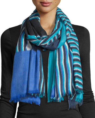 Woven Collage Cashmere Scarf, Blue