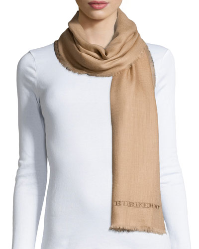 Logo-Embroidered Lightweight Cashmere Scarf