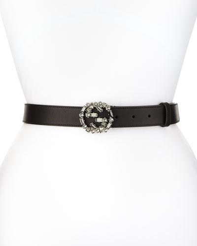 Crystal Interlocking G-Buckle Belt, Black