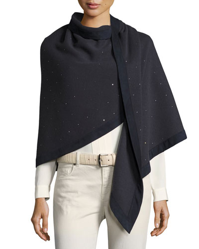 Semicircle Shawl with Crystal Embellishment