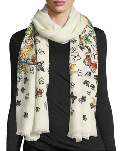 Embellished Butterfly Wool Stole