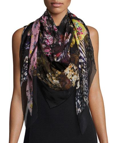 Floral Ruffle Silk Chiffon Scarf, Black/Multicolor