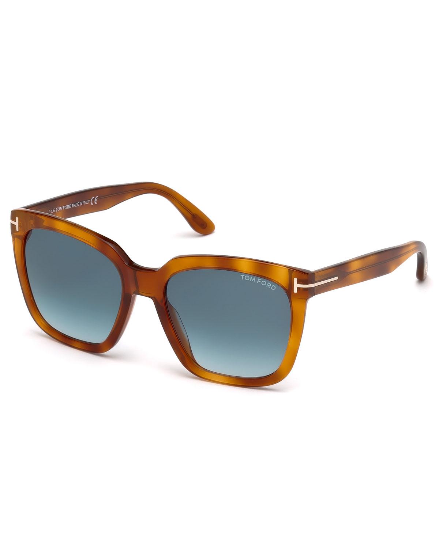 TOM FORD AMARRA 55MM GRADIENT LENS SQUARE SUNGLASSES - BLONDE HAVANA/ GRADIENT BLUE, BROWN PATTERN