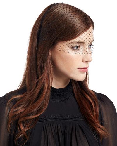 Voilette Veil Headband, Black