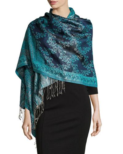 Paisley Jacquard Weave Silk Shawl, Blue Floral