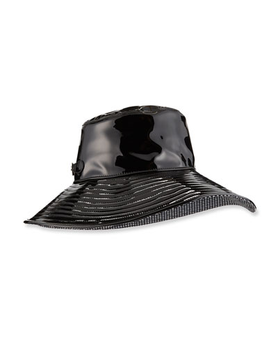 Patent Faux-Leather Rain Hat