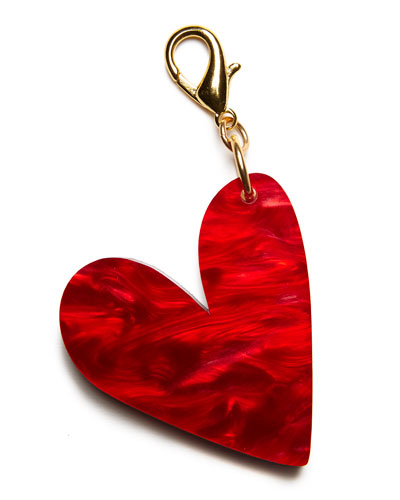 Heart Bag Charm, Red