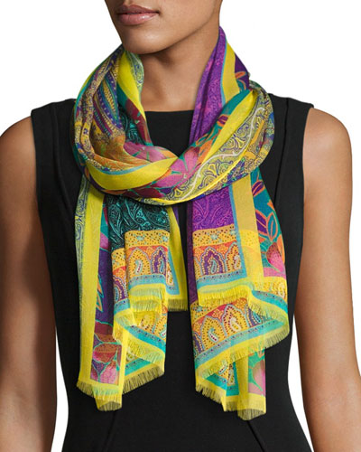 Tropical Floral Silk Chiffon Scarf, Yellow/Purple