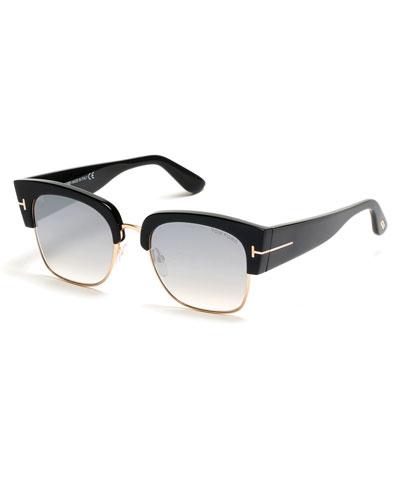 Tom Ford Dakota 55Mm Gradient Square Sunglasses - Dark Havana/ Blue Mirror, Silver