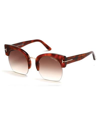 Savannah Semi-Rimless Cropped Round Sunglasses, Brown/Blonde Havana
