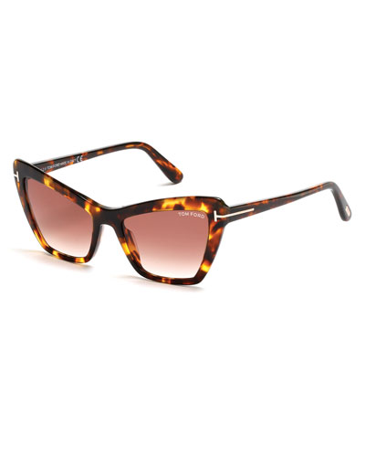 Valesca Cat-Eye Sunglasses, Brown/Dark Havana