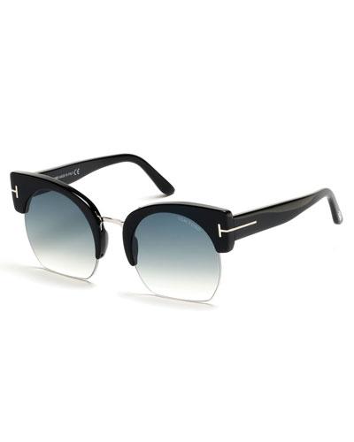 Savannah Semi-Rimless Cropped Round Sunglasses, Turquoise/Black