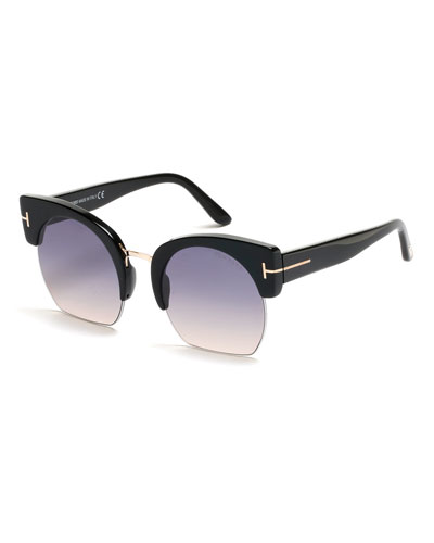 Savannah Semi-Rimless Cropped Round Sunglasses, Gray/Pink/Black
