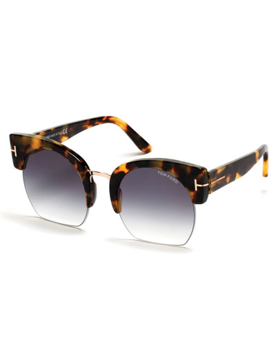 Savannah Semi-Rimless Cropped Round Sunglasses, Smoke/Tortoise