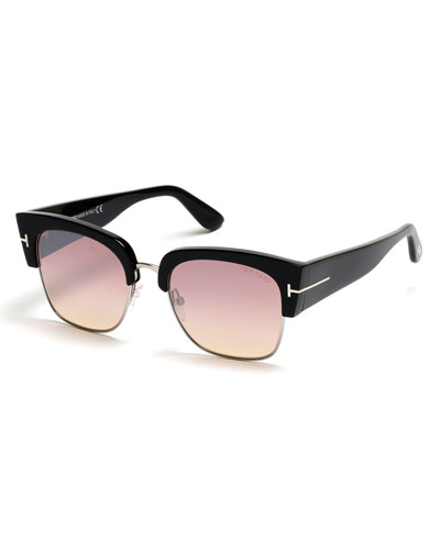 Dakota Semi-Rimless Cat-Eye Flash Sunglasses, Strawberry/Silver/Black