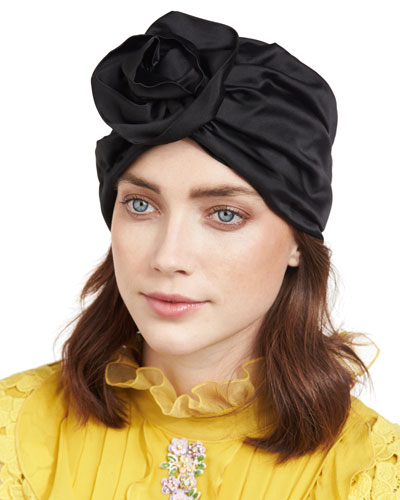Rosette Silk Satin Turban Hat