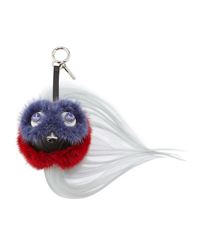 QuTweet Ball Monster Beak Fur Charm for Handbag, Purple/Red/Black