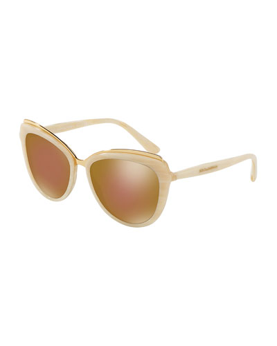 Metal-Trim Mirrored Iridescent Cat-Eye Sunglasses, Beige
