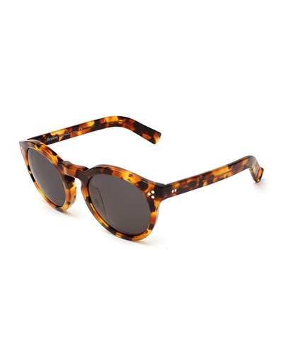 Leonard II Monochromatic Round Sunglasses, Light Tortoise