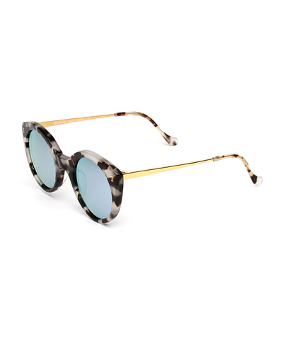 Palm Beach Mirrored Cat-Eye Sunglasses, White Tortoise