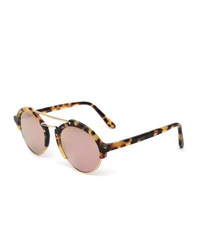 Milan II Mirrored Round Sunglasses, Tortoise