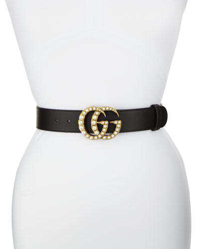 Smooth Leather Belt w/ Pearlescent Beads, Black