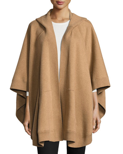 Carla Hooded Open-Front Poncho, Camel