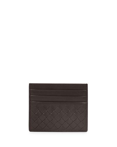 Intrecciato Leather Credit Card Sleeve, Dark Brown