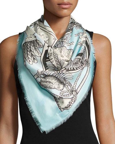 Chariot Tarot-Print Silk Twill Scarf, Blue