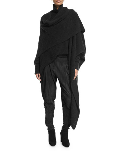 Knit Cashmere/Silk Wrap, Black