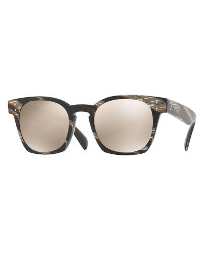 Byredo Square Mirrored Sunglasses, Black Horn