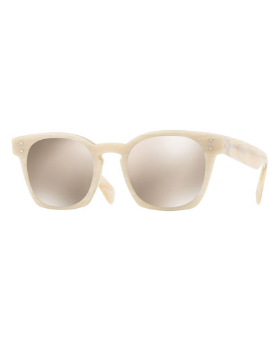 Byredo Square Mirrored Sunglasses, Beige Horn