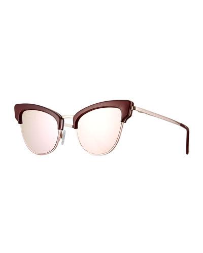 Ashanti Semi-Rimless Cat-Eye Sunglasses, Garnet