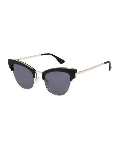 Ashanti Semi-Rimless Cat-Eye Sunglasses, Matte Black