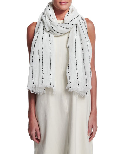 Paillette-Striped Linen Scarf