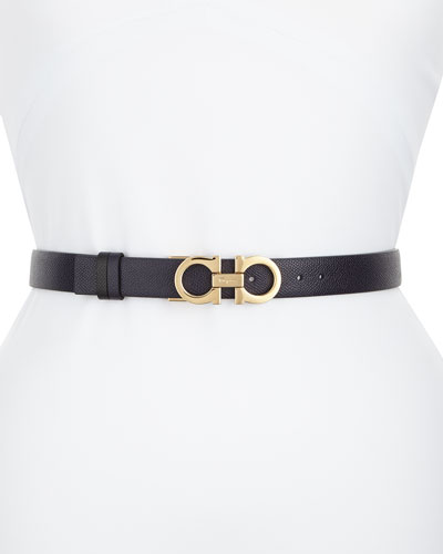 Reversible Leather Gancini Belt, Blue/Black