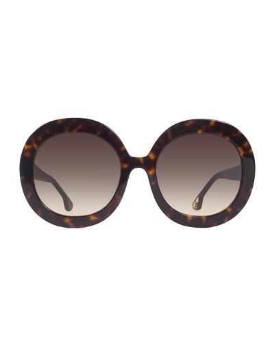 Melrose Round Sunglasses, Brown Tortoise