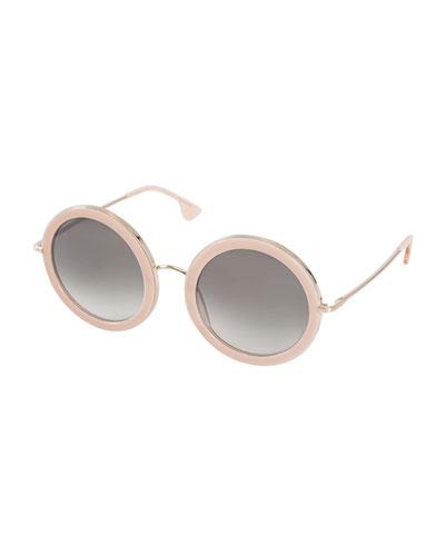Beverly Round Sunglasses, Blush
