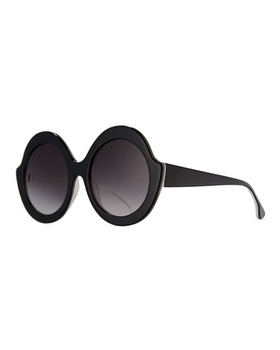 Stacey Notched Round Sunglasses, Black/White