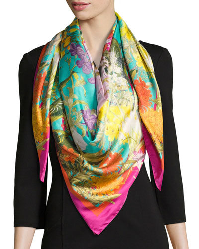 Faye Large Silk Twill Scarf, Green/Pink