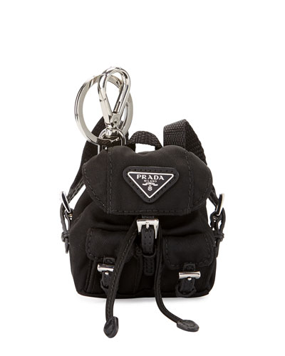 Vela Backpack-Shaped Handbag Charm/Keychain, Black (Nero)