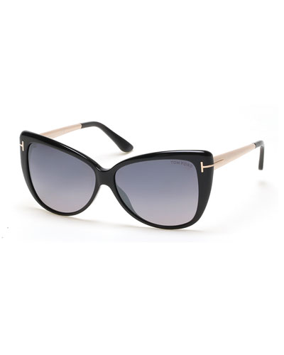 Reveka Gradient Butterfly Sunglasses, Black
